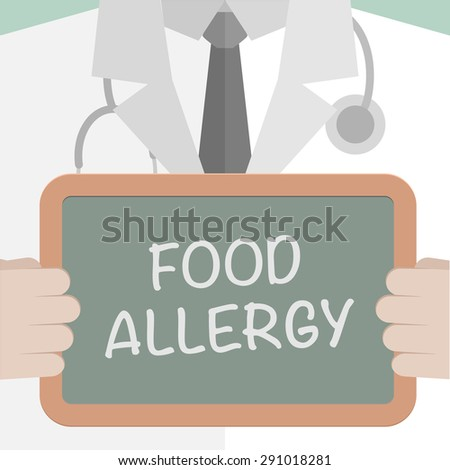 minimalistic illustration of a doctor holding a blackboard with Food Allergy text, eps10 vector - stock vector