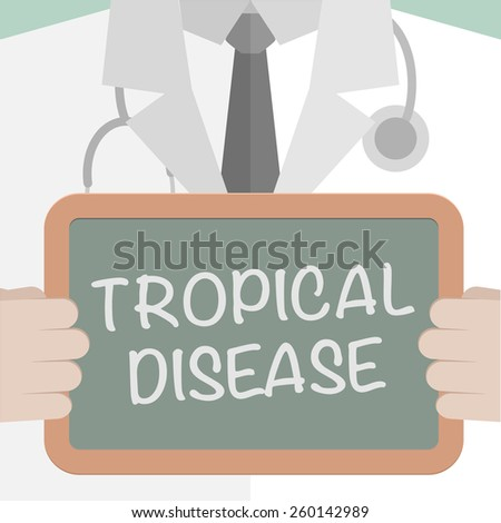 minimalistic illustration of a doctor holding a blackboard with Tropical Disease text, eps10 vector - stock vector