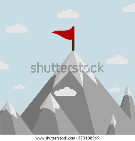 minimalistic illustration of a flag on top of a mountain, eps10 vector - stock vector