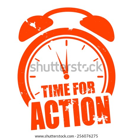 minimalistic illustration of a grungy clock with time for action text, eps10 vector - stock vector
