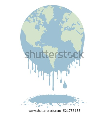 minimalistic illustration of a melting earth, global warming concept, eps10 vector