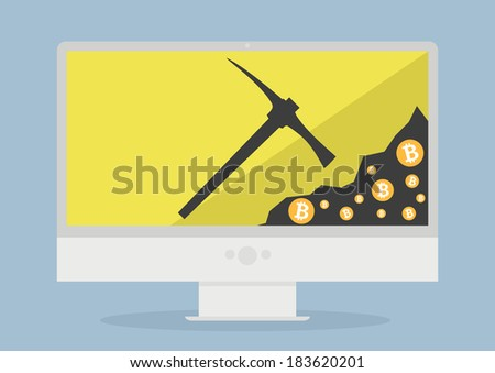 minimalistic illustration of a monitor displaying bitcoin mining, eps10 vector - stock vector