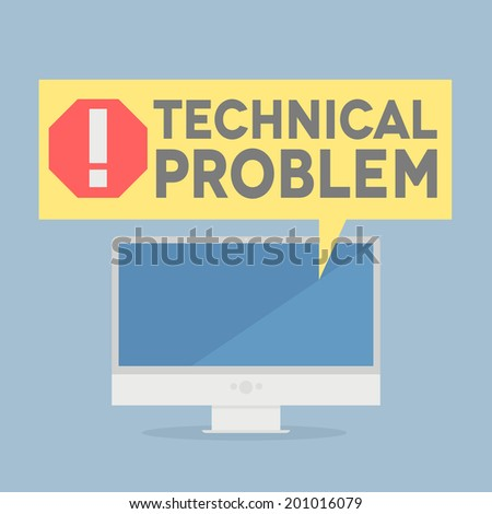 minimalistic illustration of a monitor with a technical problem speech bubble, eps10 vector - stock vector