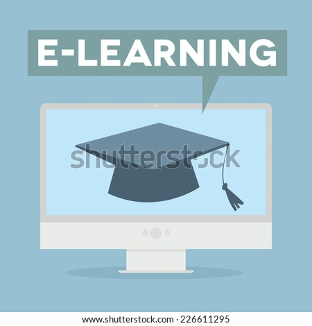 minimalistic illustration of a monitor with an E-Learning speech bubble, eps10 vector - stock vector