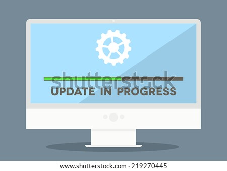 minimalistic illustration of a monitor with update screen, eps10 vector - stock vector