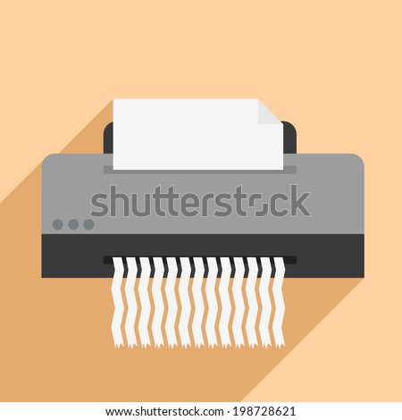 minimalistic illustration of a paper shredder, eps10 vector - stock vector