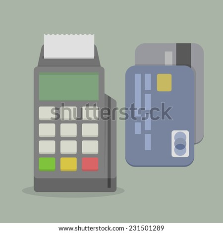 minimalistic illustration of a POS terminal, with credit cards, eps10 vector - stock vector