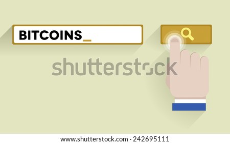 minimalistic illustration of a search bar with bitcoins keyword and hand over the button, eps10 vector - stock vector