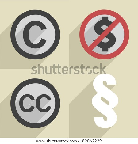 minimalistic illustration of a set of different copyright icons, eps10 vector - stock vector