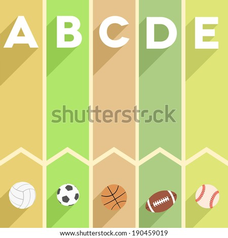 minimalistic illustration of a sports themed infographic with letters and sports symbols, eps10 vector - stock vector