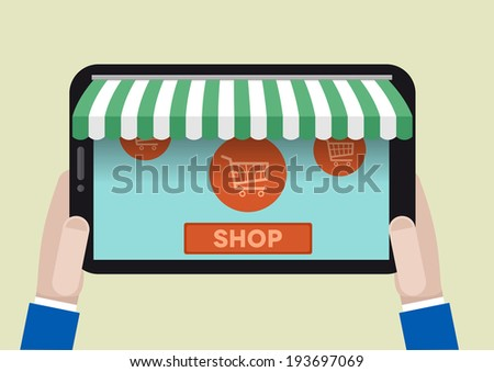 minimalistic illustration of a tablet computer with shop awnings and shopping cart symbols, eps10 vector - stock vector