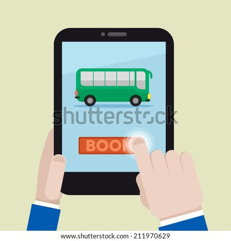minimalistic illustration of booking a bus ticket on a mobile device, eps10 vector - stock vector