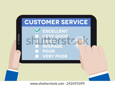 minimalistic illustration of hands holding a tablet computer with customer service survey, eps10 vector