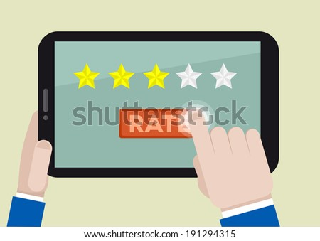 minimalistic illustration of hands holding a tablet computer with rating system and hand pushing the button, eps10 vector - stock vector