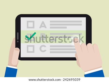 minimalistic illustration of hands holding a tablet computer with survey screen, eps10 vector - stock vector