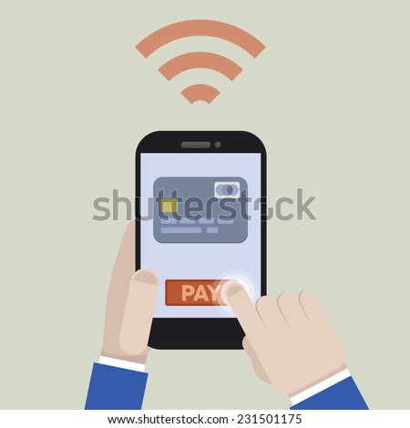minimalistic illustration of mobile payment with a smartphone application, eps10 vector - stock vector