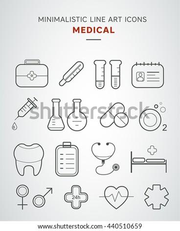 Minimalistic medical line art icons set. - stock vector