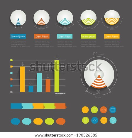 Minimalistic modern infographic folder with pie charts, arrows, speech bubbles and icons. Flat vector.  - stock vector