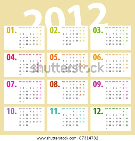 minimalistic, multicolor lines 2012 calendar design - week starts with monday - stock vector