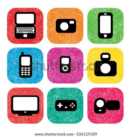 Minimalistic multimedia icons - stock vector