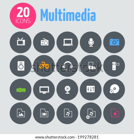 Minimalistic multimedia icons, on dark gray circles - stock vector