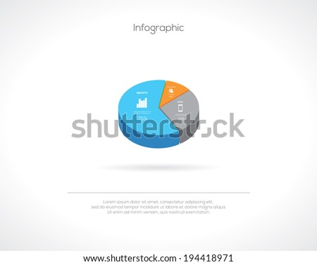 Minimalistic Pie Chart Business Infographic. Vector - stock vector
