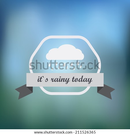 Minimalistic Rain icon on blured background - stock vector