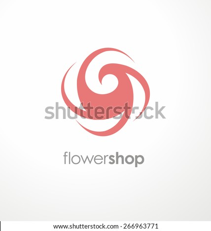 Minimalistic rose symbol. Unique flower logo design template for flower shop, cosmetic and beauty salon or spa center. Creative icon concept. Promotional sign layout. - stock vector