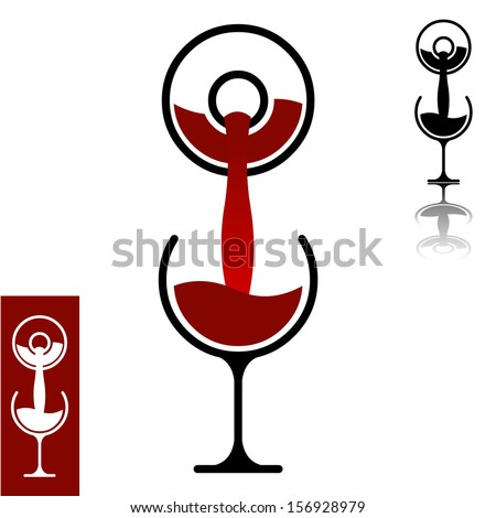 Minimalistic simple icon of wine pouring from bottle into the glass. Modern flat design element layered vector illustration. - stock vector
