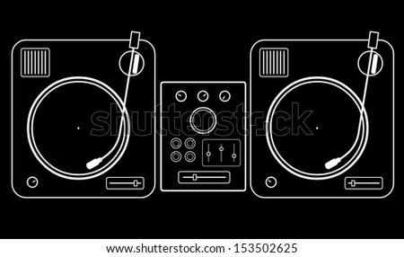 Minimalistic simple two vinyl turntables with mixer - stock vector