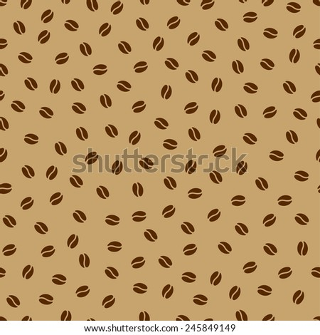 Minimalistic stylish background with coffee beans. Seamless pattern. Vector. Contrast light and dark brown colors. Perfect decoration for cafe interiors or coffee products. - stock vector