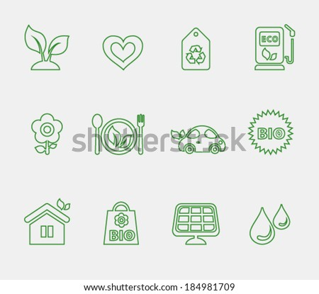 Minimalistic thin vector ecological icons, set 1 - stock vector