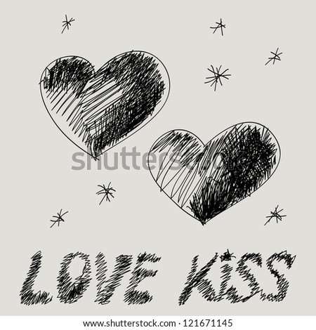 Minimalistic Valentine greetings card with two hand drawn hearts. - stock vector