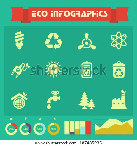 Minimalistic vector ecological icons, set 2, with infographics elements - stock vector