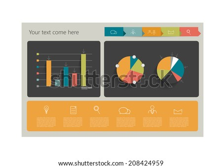 Minimalistic vector flat banner template for print or web page. Box infographics table.  - stock vector
