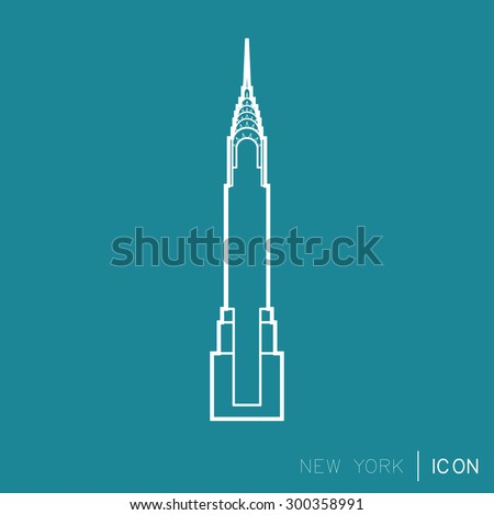Minimalistic vector icon, The Chrysler Building, New York - stock vector