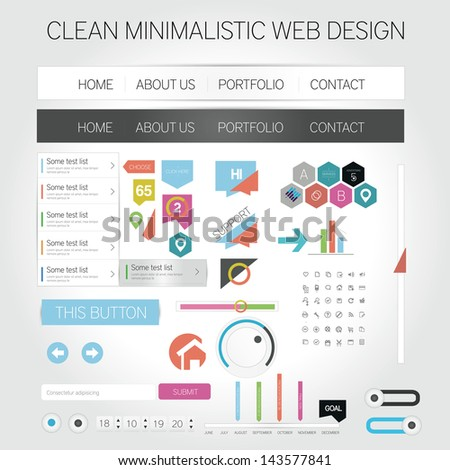 Minimalistic web design collection - stock vector