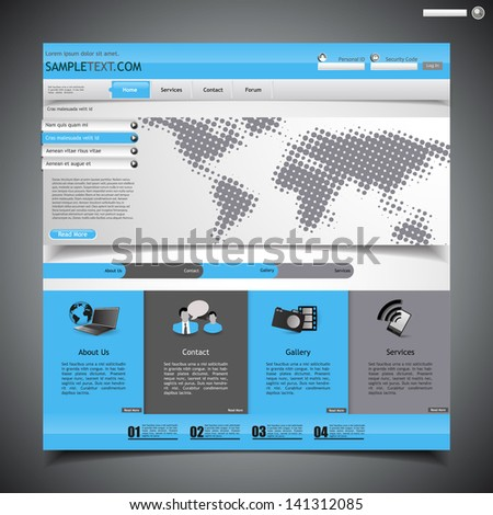 minimalistic website template - with halftone map  - stock vector