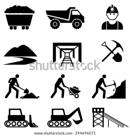 Mining and mine worker icon set