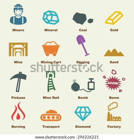 mining elements, vector infographic icons - stock vector
