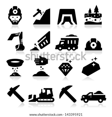 Mining Icons - stock vector