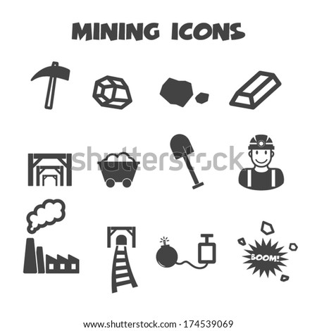 mining icons, mono vector symbols - stock vector