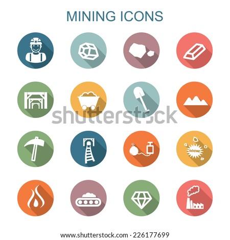 mining long shadow icons, flat vector symbols - stock vector