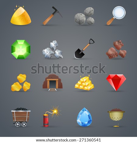 Mining strategy game cartoon icons set with gem picking tools isolated vector illustration - stock vector