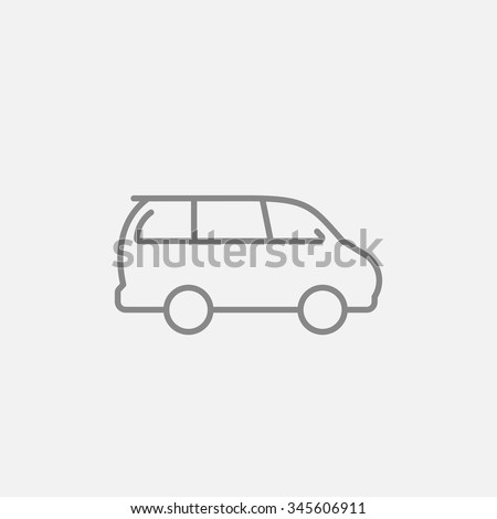 Minivan line icon for web, mobile and infographics. Vector dark grey icon isolated on light grey background. - stock vector