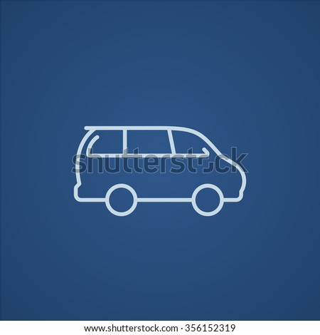 Minivan line icon for web, mobile and infographics. Vector light blue icon isolated on blue background. - stock vector