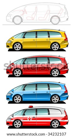 minivan - part of my collections  of Car body style. Simple gradients only - no gradient mesh. - stock vector