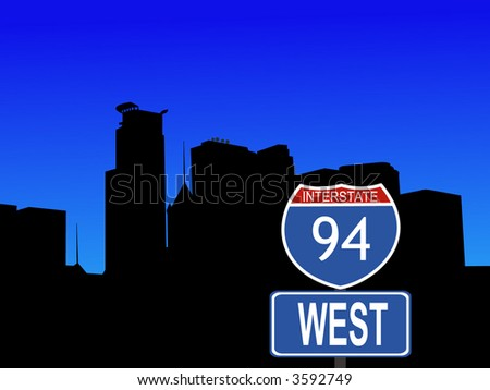 Minneapolis skyline with close view of interstate 94 sign