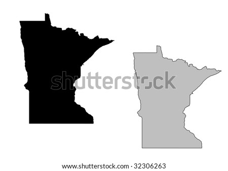 Minnesota map. Black and white. Mercator projection. - stock vector