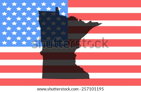 minnesota  map on a vintage american flag background